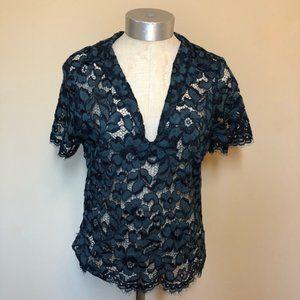 Zara woman lace collared sheer top
